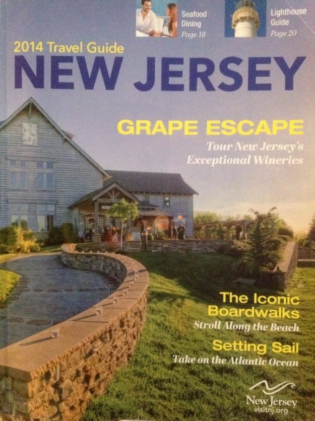 The cover of the New Jersey visitor's guide focuses on wine with its Grape Escape headline.