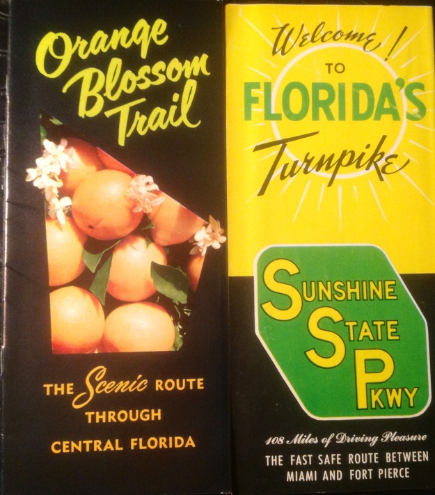 Maps and directories have been published for years in Florida.  These two vintage maps are for particular roads, the Orange Blossom Trail and the Florida Turnpike.