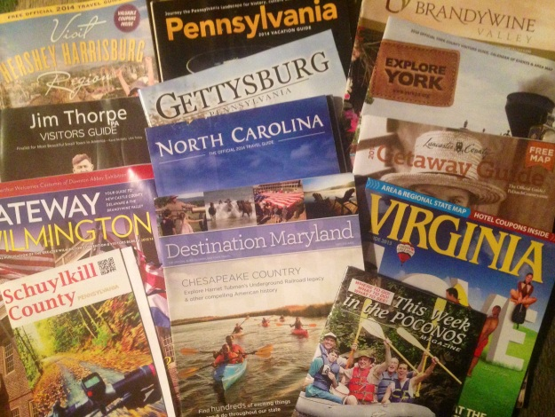 Printed visitors guides still come in handy and we explore each and every one of them for current places to consider while on a road trip as well as future places to visit.  I just can't help using them as teaching tools to help other attractions learn more about destination and tourism marketing though.